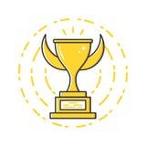 Иллюстрация дела вектора значка чашки награды золота в плоском линейном стиле Стоковое Изображение