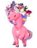 Иллюстрация единорога акварели розовая Стоковое фото RF