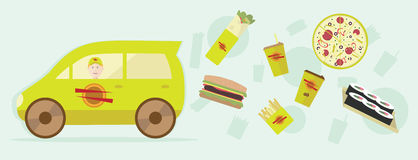 Иллюстрация еды поставки Графический дизайн для рогульки, плаката, сети иллюстрация штока