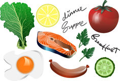 Иллюстрация еды: Salmon установленный стейк: Иллюстрация вектора: Рыба Стоковая Фотография