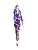 Иллюстрация женщины в модных одеждах Стоковое фото RF