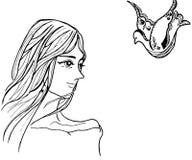 Иллюстрация женщин и линии рисовать птицы искусства черно-белый Стоковое Изображение