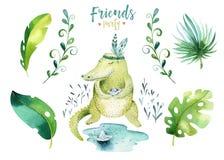 Иллюстрация животных младенца изолированная питомником для детей Чертеж boho акварели тропический, крокодил ребенка милый, тропик Стоковая Фотография RF