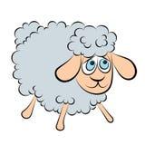Иллюстрация жизнерадостной овечки с голубыми глазами Стоковая Фотография