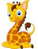 Иллюстрация жирафа шаржа сидя Стоковое Изображение