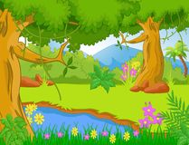 Иллюстрация джунглей с деревьями и заводами Стоковое Изображение