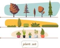 Иллюстрация заводов комнатных растений, крытого и офиса в баке Установите кустарники деревьев 10 eps Стоковое фото RF