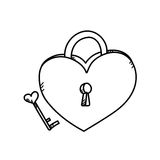 Иллюстрация замка сердца чертежа от руки Стоковые Изображения RF