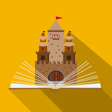 Иллюстрация замка сказки открытой книги в плоском дизайне Стоковые Изображения