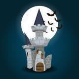 Иллюстрация замка хеллоуина с луной и летучей мышью Стоковые Изображения RF
