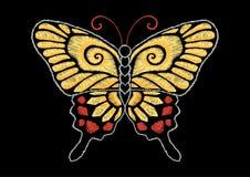 Иллюстрация запаса желтого †дизайна вышивки бабочки « Стоковая Фотография