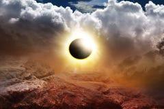 иллюстрация затмения конструкции черноты предпосылки солнечная Апокалипсис фантазии Стоковое фото RF