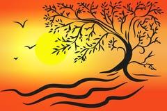 Иллюстрация захода солнца Стоковое Изображение RF