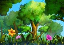 Иллюстрация: Зеленый лес с глубокой травой и волшебными цветками Стоковые Изображения