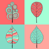 Иллюстрация знака дерева 4 стиля значка на 4 квадратах цвета Стоковые Изображения RF