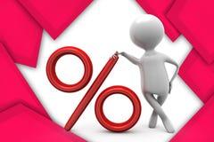 иллюстрация знака процентов человека 3d Стоковое Изображение RF