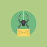 Иллюстрация значка вируса электронной почты плоская Стоковые Фотографии RF