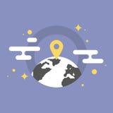 Иллюстрация значка глобального положения плоская Стоковая Фотография