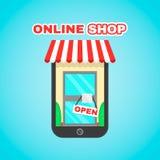 Иллюстрация значка передвижного онлайн вектора магазина плоская Электронная коммерция, цифровой рынок, онлайн приобретение, онлай бесплатная иллюстрация