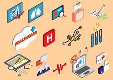 Иллюстрация значков больницы информации графических установила концепцию Стоковое Фото
