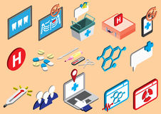 Иллюстрация значков больницы информации графических установила концепцию Стоковые Фото