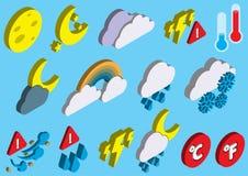 Иллюстрация значков погоды информации графических установила концепцию Стоковое Фото