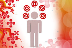 иллюстрация значков почты человека 3d Стоковая Фотография RF