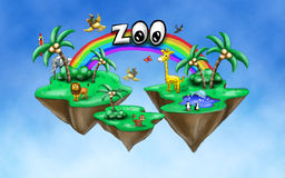 Иллюстрация зоопарка в небе Стоковая Фотография