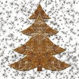 Иллюстрация золотой связанной проволокой рождественской елки Стоковое Изображение