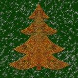 Иллюстрация золотой связанной проволокой рождественской елки Стоковые Изображения