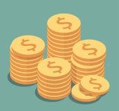 Иллюстрация золотых монеток Стоковые Фотографии RF