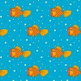 Иллюстрация золотых рыб, безшовной предпосылки, картины Стоковое Фото