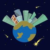 Иллюстрация зданий и планеты Стоковая Фотография RF