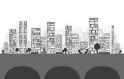 Иллюстрация здания и города Стоковые Изображения
