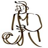 Иллюстрация ИГРОКА САКСОФОНА традиционная Стоковые Изображения