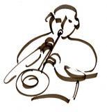 Иллюстрация ИГРОКА САКСОФОНА традиционная Стоковые Фотографии RF