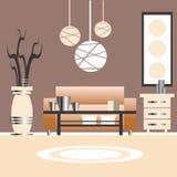 Иллюстрация дизайна интерьера живущей комнаты Стоковые Фотографии RF