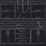 Иллюстрация дизайна интерьера кухни Стоковое Фото