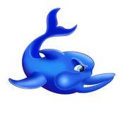 Иллюстрация изолированная дельфином Голубые и сердитые рыбы дельфина Стоковые Фото