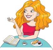 Иллюстрация длинный с волосами усмехаться девушки Стоковые Фотографии RF