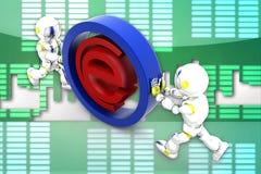 иллюстрация интернета робота 3d Стоковое Фото