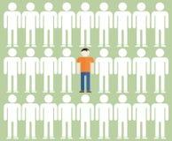 Иллюстрация индивидуальности одного человека среди серой массы Стоковая Фотография