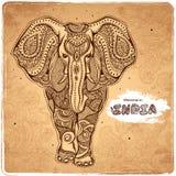 Иллюстрация индийского слона вектора винтажная Стоковое фото RF