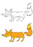 Иллюстрация лисы хитрости анимации Стоковое Изображение