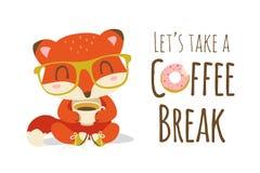 Иллюстрация лисы шаржа перерыва на чашку кофе Стоковая Фотография