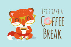Иллюстрация лисы шаржа перерыва на чашку кофе Стоковое Фото