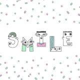 Иллюстрация литерности улыбки рукописная с confetti Стоковое Фото