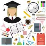 Иллюстрация иллюстрации вектора плоская школьных принадлежностей Значок студента девушки стоковые фото