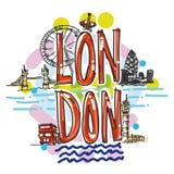 Иллюстрация иллюстрации города Лондона нарисованная рукой Стоковые Изображения