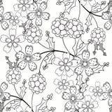 Иллюстрация картины безшовных орнаментальных элементов книги страницы расцветки черно-белая Стоковое Фото